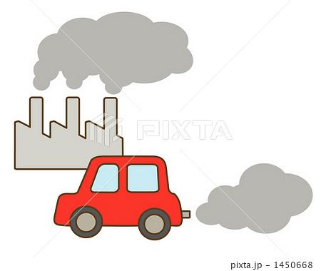 二酸化炭素 自動車 工場 大気汚染のイラスト素材 Pixta