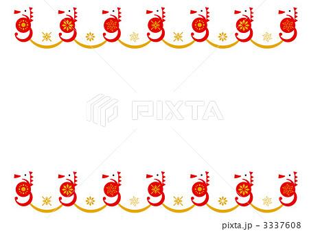 枠 正月 タツノオトシゴ フレームのイラスト素材 Pixta