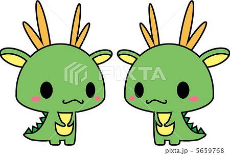 ペア 龍 竜 かわいい 角 たつのイラスト素材 Pixta