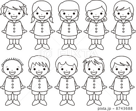 幼稚園児 子ども 幼稚園 ぬりえのイラスト素材 Pixta