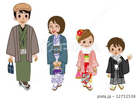 家族 着物 親子 人物のイラスト素材 Pixta