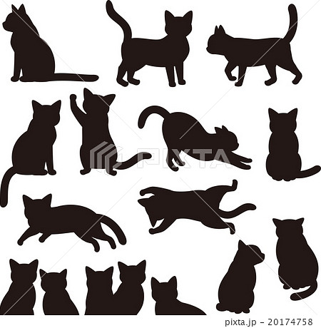猫のシルエット素材セットのイラスト素材 20174758 Pixta