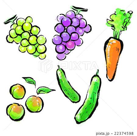 墨絵 セット 果物 フルーツのイラスト素材 Pixta