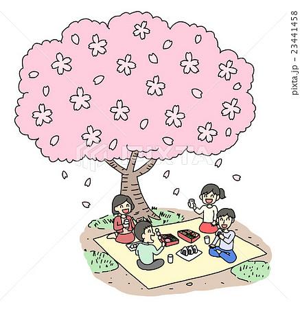 お花見 花見 春 桜のイラスト素材 Pixta