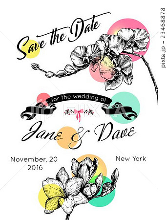 save the date invitation template vector のイラスト素材 23468878