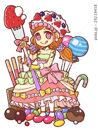 女の子 お菓子 人物 スイーツのイラスト素材 Pixta