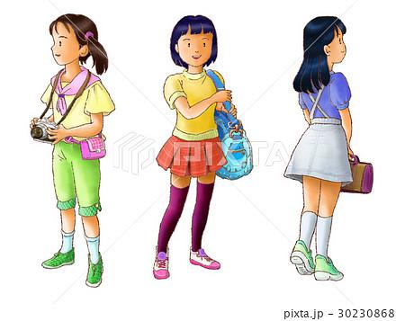 子供 女の子 ファッション 立ち姿のイラスト素材