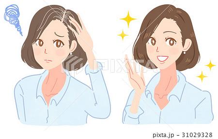白髪に悩むミドル女性のイラスト