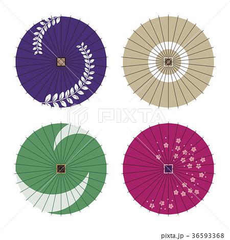 いろいろな模様のカラフルな蛇の目傘