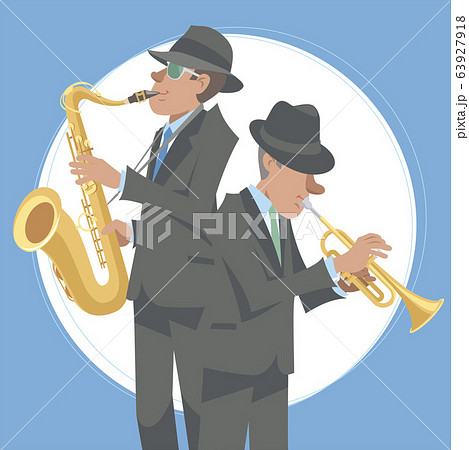 演奏するジャズミュージシャン。トランペット奏者とテナーサックス奏者。